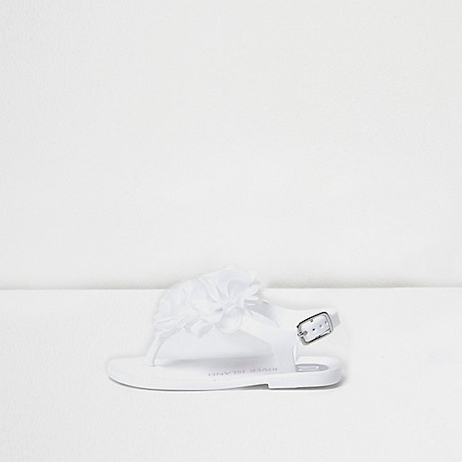Mini girls white corsage jelly sandals