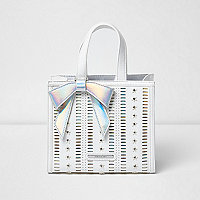 Girls white structured 3D star tote bag
