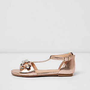Girls rose gold embellished T-bar sandals
