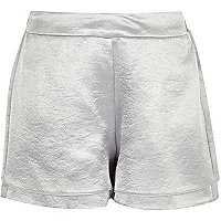 Girls silver high waisted shorts
