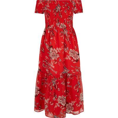 Rode gesmokte maxi-jurk met bloemenprint voor meisjes