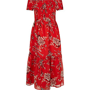 Girls red floral print rouched maxi dress