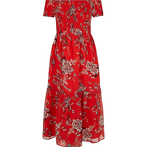 Girls red floral shirred maxi dress