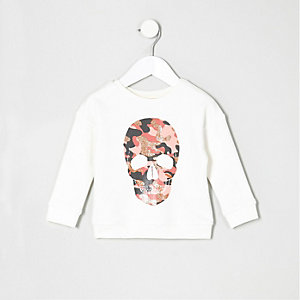 Sweat motif tête de mort camouflage à paillettes mini fille