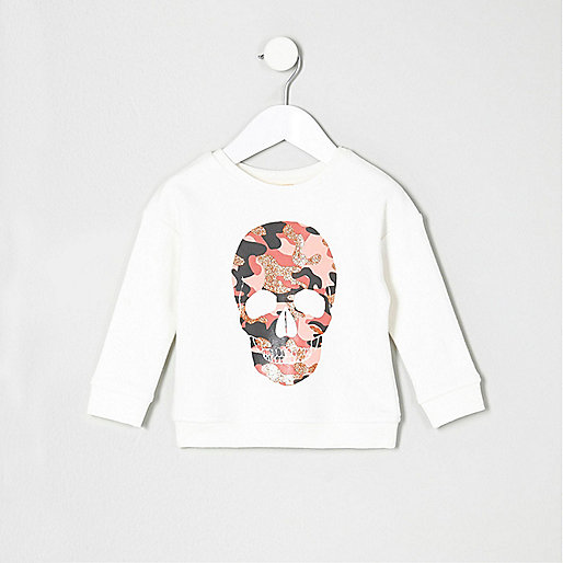Mini girls camo print glitter skull