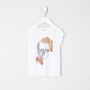 Mini girls white floral skull T-shirt
