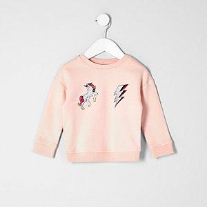 Mini girls light pink unicorn sweatshirt