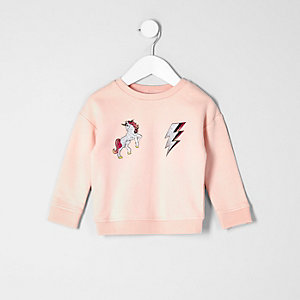 Mini girls light pink unicorn sweatshirt