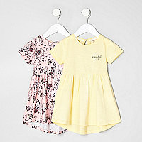 Mini girls pink and yellow dress two pack