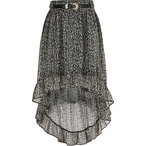 Girls black print high-low hem maxi skirt