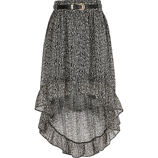Girls black print high-low hem maxi skirt