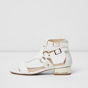 Girls white block heel ring sandals