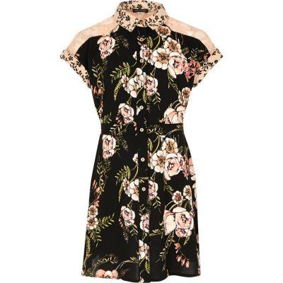 Zwarte jurk met bloemenprint voor meisjes