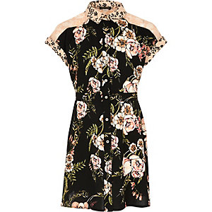 Girls black floral print tea dress