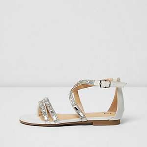 Girls white rhinestone strappy sandals