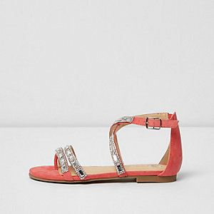 Girls coral rhinestone strappy sandals