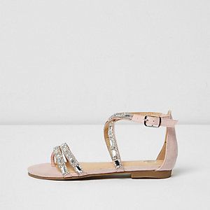 Girls pink rhinestone strappy sandals