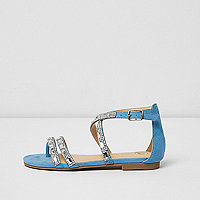 Girls blue diamante strappy sandals