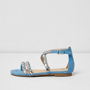 Girls blue diamante strappy sandals