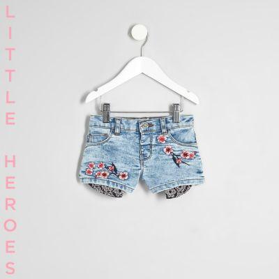 Mini Blauwe geborduurde denim short voor meisjes