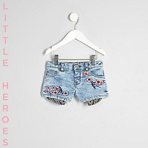 Short en jean bleu brodé mini fille