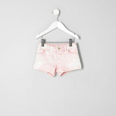 Mini Roze denim short met kant voor meisjes