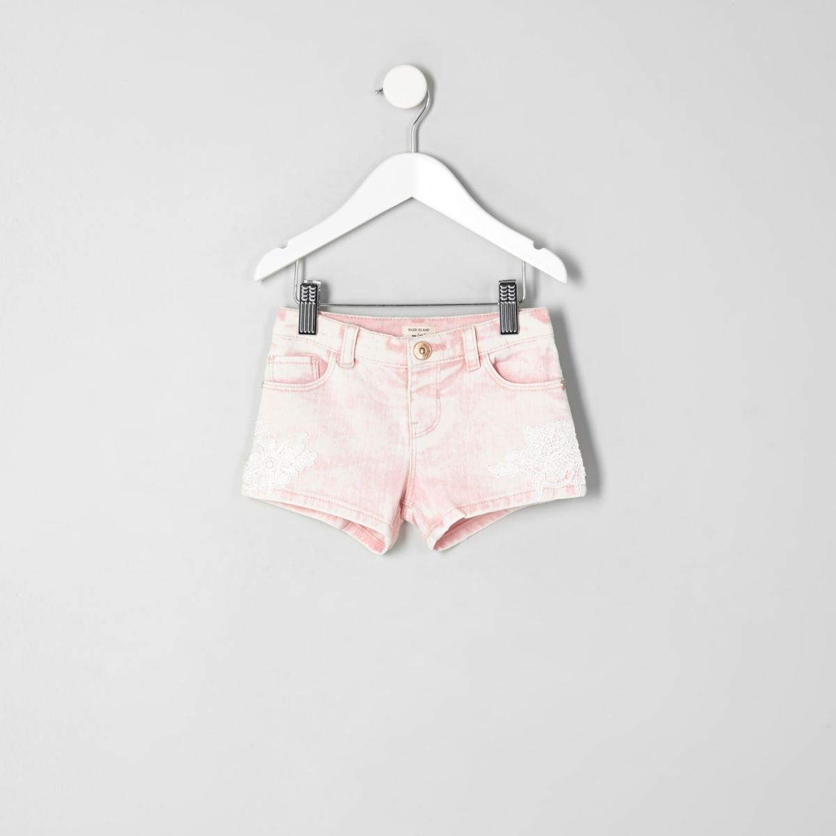 Short en jean rose au crochet mini fille