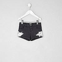 Mini girls black washed crochet denim shorts