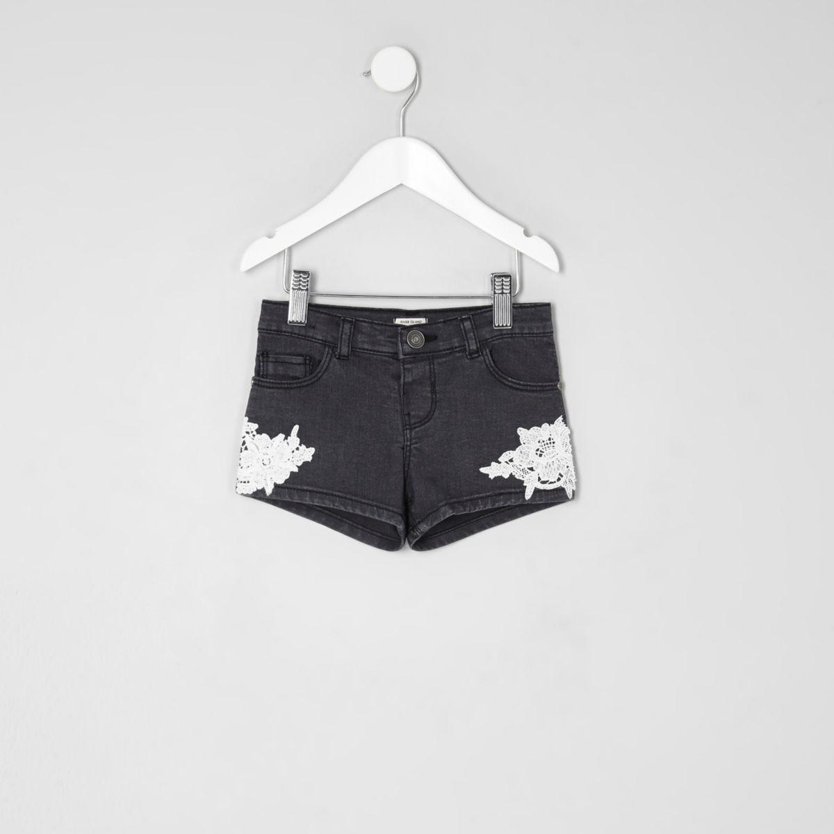 Mini girls black washed crochet denim shorts