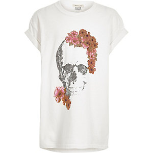 Girls white glitter floral skull pint T-shirt