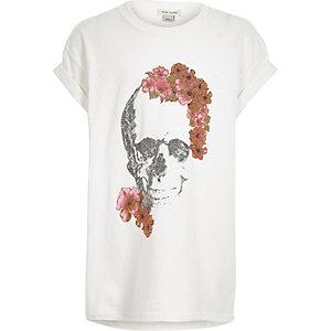 T-shirt blanc à imprimé fleurs et tête de mort pailleté pour fille