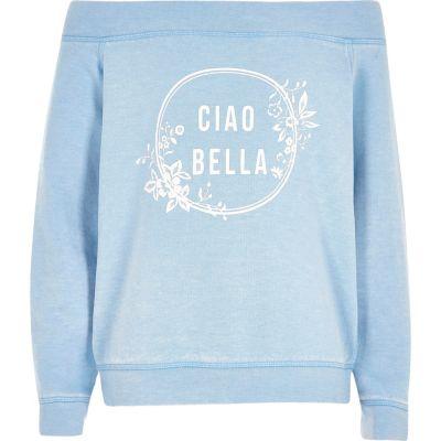 Blauw sweatshirt in bardotstijl met ciao bella'-print voor meisjes
