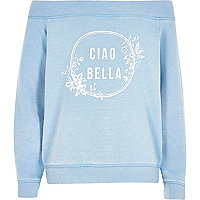Girls blue 'ciao bella' bardot sweatshirt