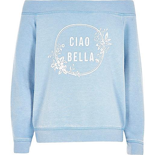 Girls blue 'ciao bella' bardot sweatshirt