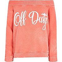 Girls coral 'off duty' bardot sweatshirt