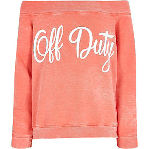 Girls coral 'off duty' bardot sweatshirt