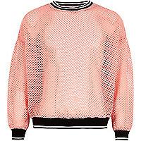 Girls pink mesh tipped sweatshirt
