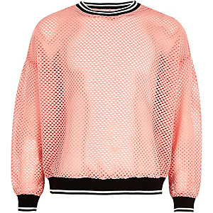 Girls pink mesh tipped sweatshirt