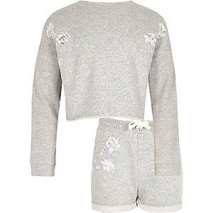 Girls grey lace sweatshirt and shorts set