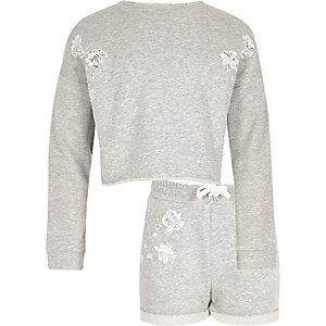 Girls grey lace sweatshirt and shorts set