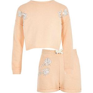 Girls orange lace sweatshirt and shorts set