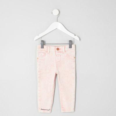 Mini Molly roze acid wash skinny jeans voor meisjes