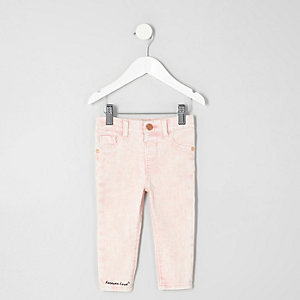 Mini girls pink acid wash Molly skinny jeans