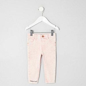 Mini - Molly roze acid wash skinny jeans voor meisjes