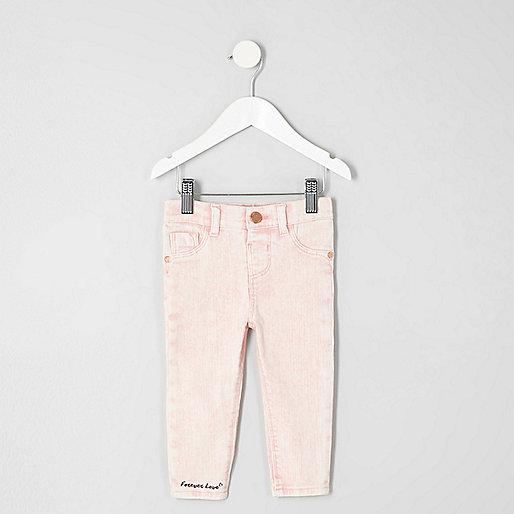 Mini girls pink acid wash Molly skinny jeans