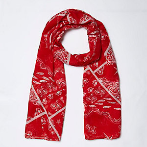 Girls red bandana print scarf