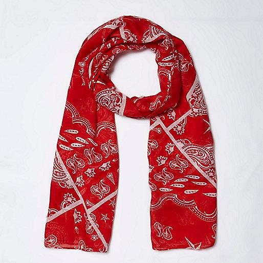 Girls red bandana print scarf