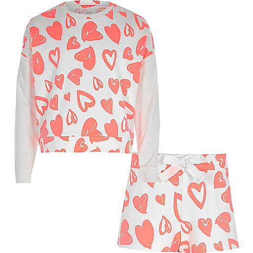 Girls fluro coral heart sweatshirt pyjama set