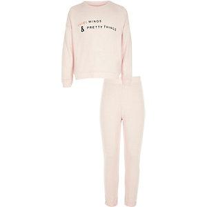 Girls pink angel wing print pyjama set