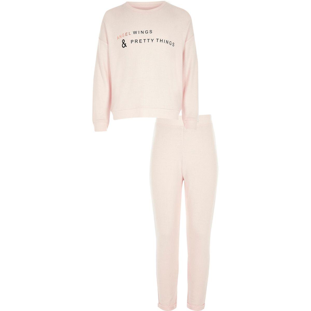 Girls pink angel wing print pajama set